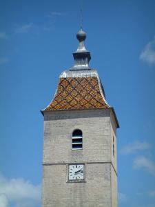 Villages of the Haute-Saône - Bell tower of a church with a glazed tiles roof