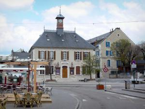 Villard-de-Lans - Town hall, main square and café of the village