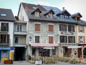 Villard-de-Lans - Facades of houses and café terrace of the village