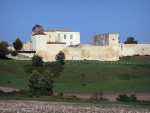 Villebois-Lavalette - Castle and its surrounding wall dominating meadows and fields