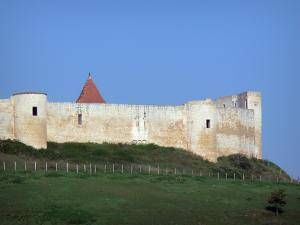 Villebois-Lavalette - Surrounding wall of the castle flanked by towers and meadow