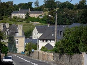 Villedieu-les-Poêles - Road, houses of the city (town of copper) and trees