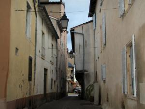 Villefranche-sur-Saône - Narrow street lined with houses and lampposts
