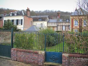 Villequier - Garden and houses of the village, in the Norman Seine River Meanders Regional Nature Park