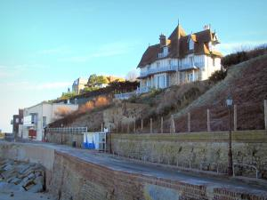 Villerville - Côte Fleurie (Flower coast): villas (houses) of the seaside resort dominating the beach