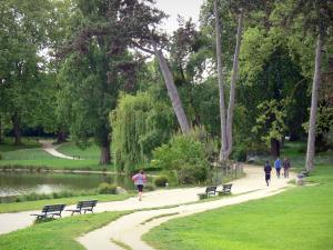 Vincennes wood - Joggers running along the Daumesnil lake