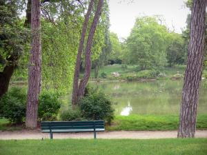 Vincennes wood - Bench overlooking the Daumesnil lake surrounded by trees