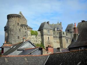 Vitré - Fortified castle (fortress) and roofs of the houses in the medieval town