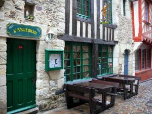 Vitré - Restaurant terrace and old timber-framed houses of the medieval old town