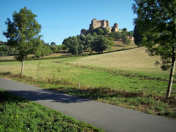Voie Verte (Green Lane) - Cycle path of the Voie Verte (Green Lane,  former railroad) with view of the Berzé-le-Châtel castle, trees and prairies