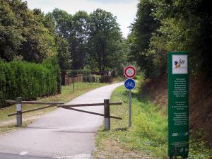 Voie Verte (Green Lane) - Cycle path of the Voie Verte (Green Lane,  former railroad) lined with trees
