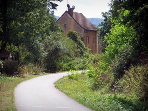 Voie Verte (Green Lane) - Cycle path of the Voie Verte (Green Lane,  former railroad), trees and house