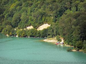Vouglans lake - Shore with trees and lake (artificial lake)