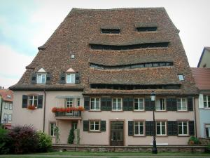 Wissembourg - Salt house (Maison du Sel) with sloping roof and attic windows