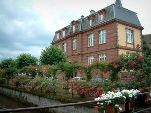 Wissembourg - Flower-covered bridge, rose garden, trees and a residence