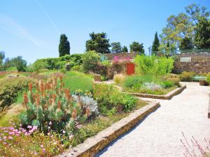 Jardin fleuri sur la terrasse de l'ancien château de Giens (© J.E)